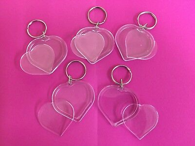 5 x Heart Shaped Acrylic Plastic Blank Keyrings Own Photo Picture Key Rings