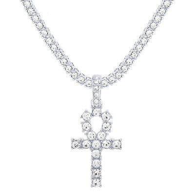 """Men's Silver Plated Iced Ankh Cross Pendant 24"""" Tennis Chain Necklace TMP 209 S"""