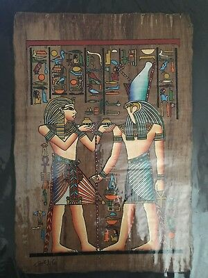 High quality DARK genuine Hand Painted Egyptian Papyrus King TUTANKHAMON offers