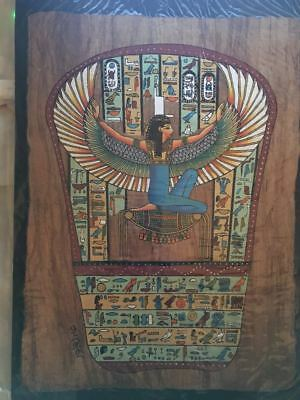 High quality DARK genuine Hand Painted Egyptian Papyrus WINGED MAAT + 1 FREE