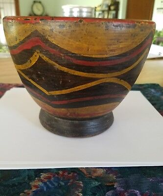Antique Elevated Wooden Mortar Hand Turned Old Paint 18Th Century Treenware