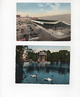 Vintage 1950s Color postcards of Rome (ROMA). Lot of 2 - unused. Villa Borghese