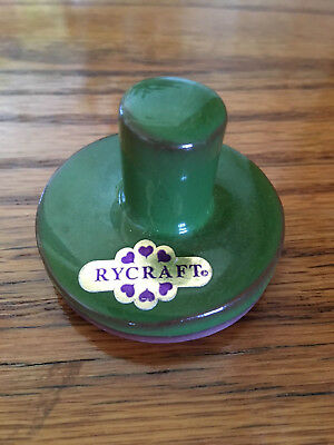 """Rycraft 2"""" Round Cookie Stamp with Handle Holiday Jingle Bells Design Green"""