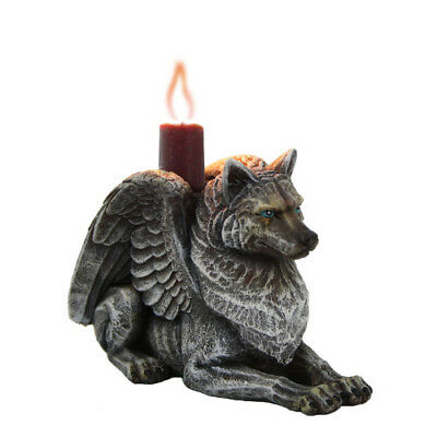 Winged Wolf Gargoyle Candleholder  Altar Home Wiccan Pagan Metaphysical