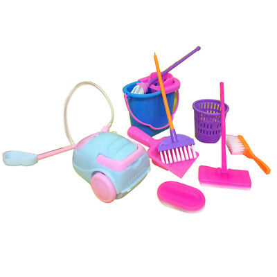 LX_ 9Pcs House Cleaning Tool Vacuum Cleaner Broom Mop Brush for Barbie Doll He