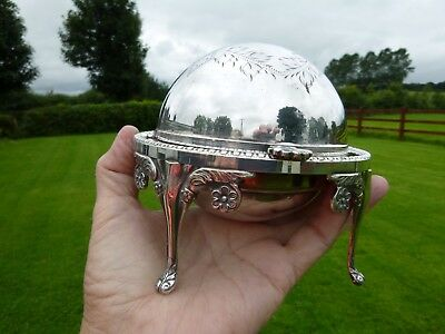 English Good Quality Vintage Silver Plated Roll Top Butter / Caviar Dish