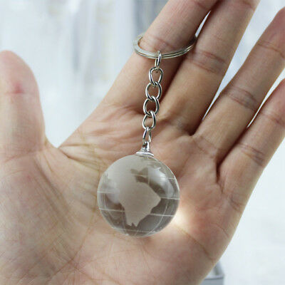 Hanging Pendants Blue Creative Globe World Luminescent Key Chain Crystal Glass