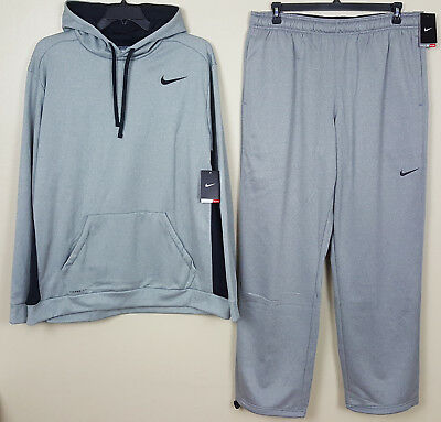 Nike Therma-Fit Sweatsuit Hoodie + Pants Outfit Grey Black New Rare (Size 3Xl)