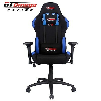 Gt Omega Pro Racing Gaming Office Chair Black With Blue Fabric Esport Seats Ak