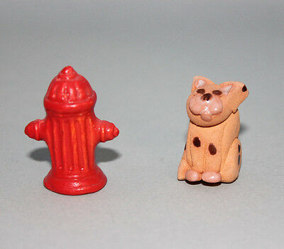 Vintage Miniature Dollhouse Fire Hydrant and Cat/Dog