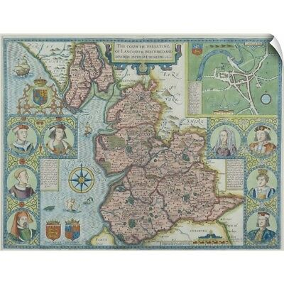 Wall Decal entitled Map of Lancashire , England