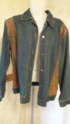 Chicos Design Asian Print Suede And Denim Jean Jacket Chico's Size 2