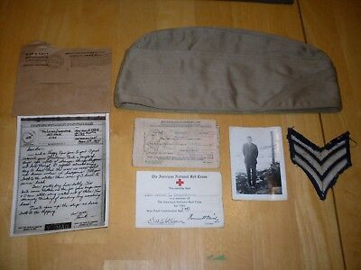 WW2 Hat Patch Picture Letter Lot