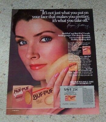 1984 print ad page - Buf-Puf face actress Morgan Brittany vintage 3M advertising