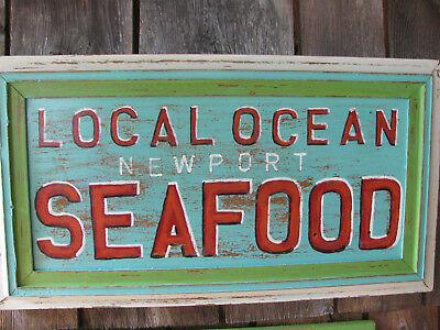Local Ocean Seafood Sign Hand Painted Newport Oregon