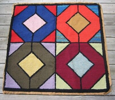 Vtg Square Abstract Geometric Diamond Hand-Hooked Rug-Wall Hanging 38 x 39