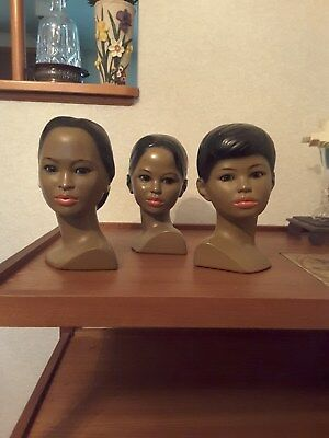 set of 3 beautiful black women decorative busts - vintage - listing #5