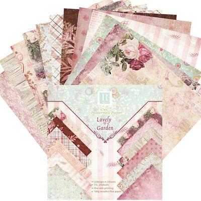 "Paper 24sh 6""x6"" inch # Romantic Flowers Vintage # Album Scrapbook Cards"