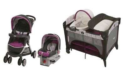 Graco Baby Stroller with Car Seat Nursery Playard Crib Travel System Combo Set