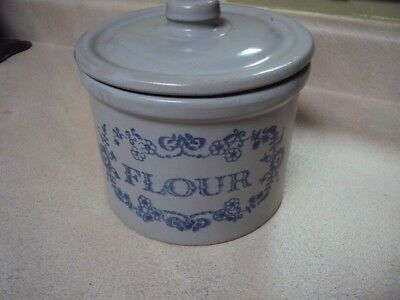 Vintage Pottery Stoneware Lidded Flour Crock Farmhouse French Country