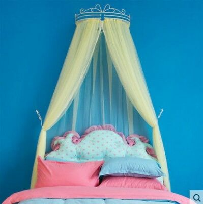 European Queen Yellow Yarn Ceiling Type Mosquito Net Bed Canopy Bed Curtain#