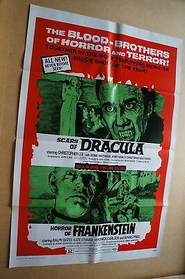 Scars Of Dracula / Horror Of Frankenstein  Double Bill Horror  One Sheet 1971