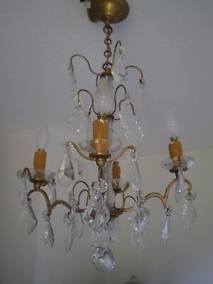 Chandelier Tassel 4 Fire Crystal Baccarat Brass Deco Classic Lamp Lighting