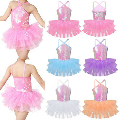 Girls' Ballet Dress Dance Leotard Sequins Tutu Layered Ballerina Dancing Costume