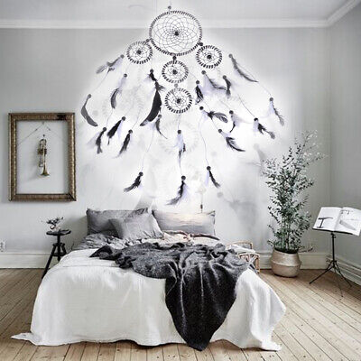 5 Rings Handmade Dream Catcher Bedroom Hanging Decoration Feather Ornament Gift