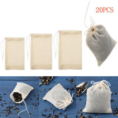 20X Empty Tea Bags with String Seal Filter for Paper Herb Loose Tea Soup Teabag
