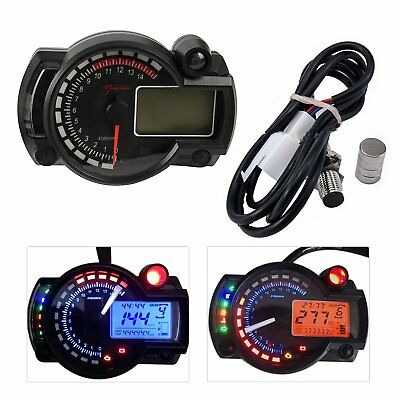 15000rpm Motorcycle Universal LCD Digital Speedometer Tachometer Odometer USA AS