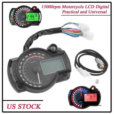 15000rpm Motorcycle LCD Digital Speedometer Tachometer Odometer 299KMH NEW AS