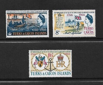 TURKS & CAICOS ISLANDS 1966 Bicentenary Ties With Britain, mint set of 3 MNH MUH