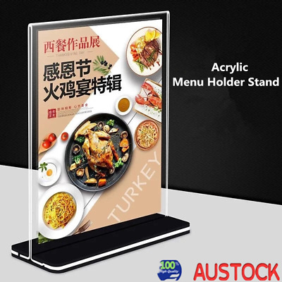 10x DL Double Sided Sign Holder Acrylic Retail Display Stands Menu 10*20CM AU