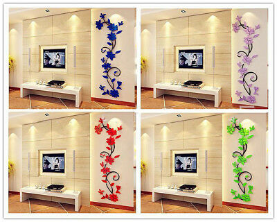 Merry Christmas Acrylic 3D Wall Stickers Removable Flower Trees TV Wall Stickers