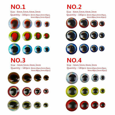 183pcs 3D Fishing Lures Eyes Holographic Eyes DIY Fly Tying Jigs Craft Doll Gift