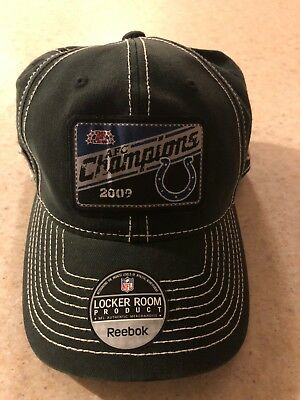 5f2a11340bc INDIANAPOLIS COLTS 2009 AFC CHAMPIONS REEBOK LOCKER ROOM HAT CAP Fitted NWT