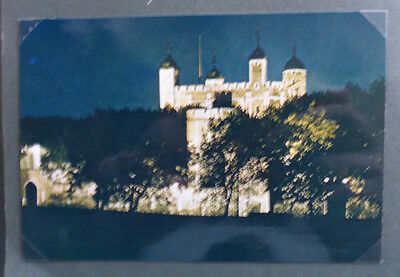 Vintage British Postcard - Tower Of London By Night