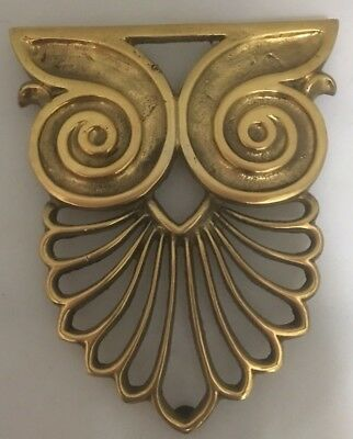 Vintage Solid Brass OWL Trivet hot plate wall decor drake footed1970s Retro