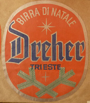 OLD 1950s ITALAIN BEER LABEL, DREHER BREWERY TRIESTA ITALY, DREHER 2