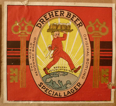OLD 1950s ITALAIN BEER LABEL, DREHER BREWERY TRIESTA ITALY, SPECIAL LAGER