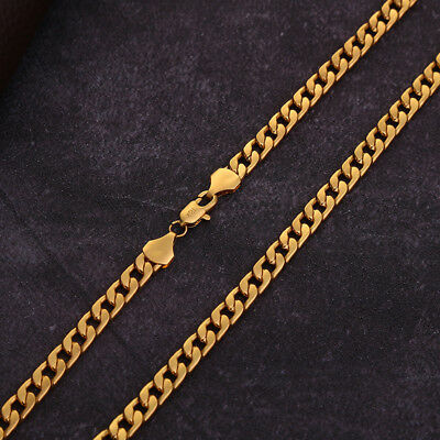 1PC Gold Cuban Miami Chain Solid Heavy Stainless Steel Curb Link Mens Necklace