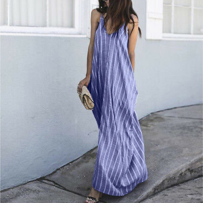 Womens Lady Sexy Daily Loose Causal Sleeveless Stripe V Neck Fashion Long Dress