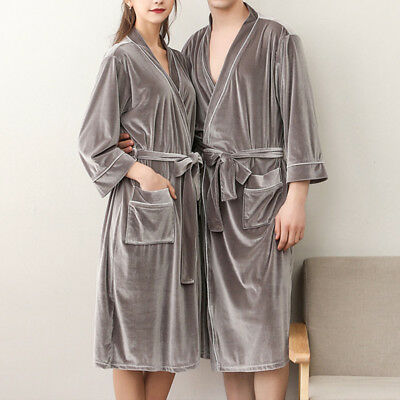 AU Mens Womens Supersoft Dressing Gown Couples Home Coats Lovers Short Bath Robe