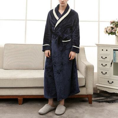 AU Plus Size Unisex Soft Towelling Bath Robe Cosy Long Winter Dressing Gown