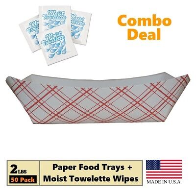 2 lb Red Plaid on White Color Disposable Paper Food Trays, Boat Basket Holder