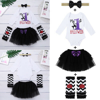 Baby Girls My 1st Halloween Outfit Bodysuit Romper Tutu Dress Headband Costume