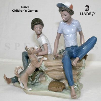 """Lladro 5379 """"Children's Games"""" Black Legacy Boys Playing & Dog - See 14 Pictures"""
