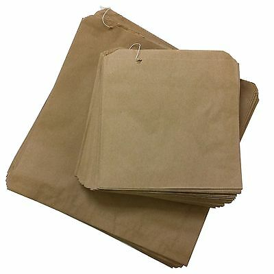 "Brown Paper Bags 10""x10"" Market Stall Fruit Sweets Groceries Gifts Picnic x 200"