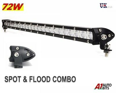 72W 24 Led Light Bar Flood Spot Work Lamp Suv Recovery Pickup Truck 4x4 Bullbar